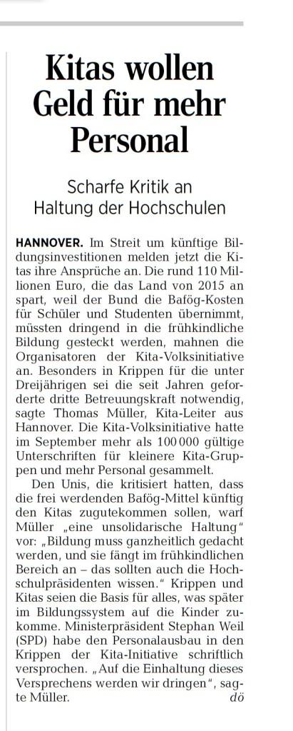HAZ 12.07.2014 - Kita-Volksinitiative und Hochschulen