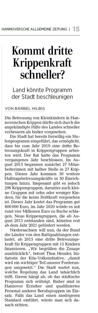 HAZ Kommt dritte Kraft - Hannover-Teil 03.06.2014