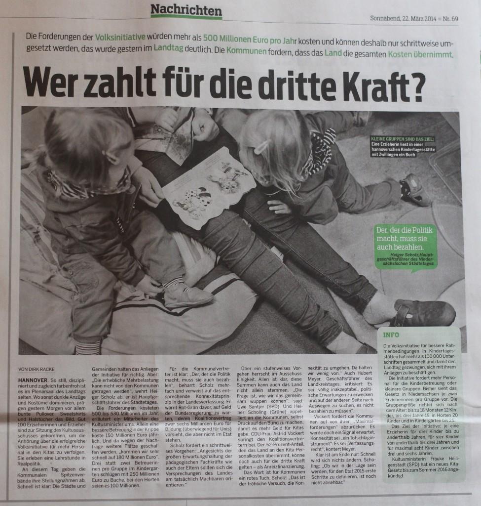 Neue Presse 22.03.2014 - Volksinitiative Kommunale Spitzen