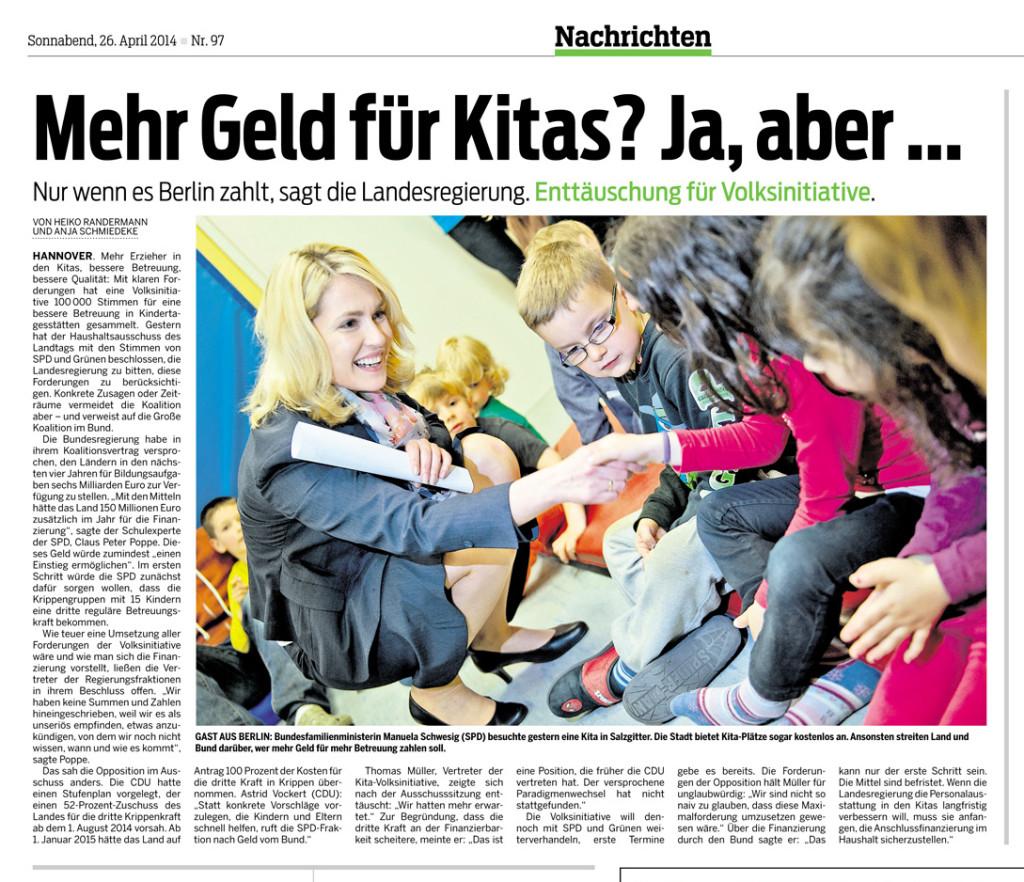 Neue Presse 26.04.2014 - Kita-Volksinitiative